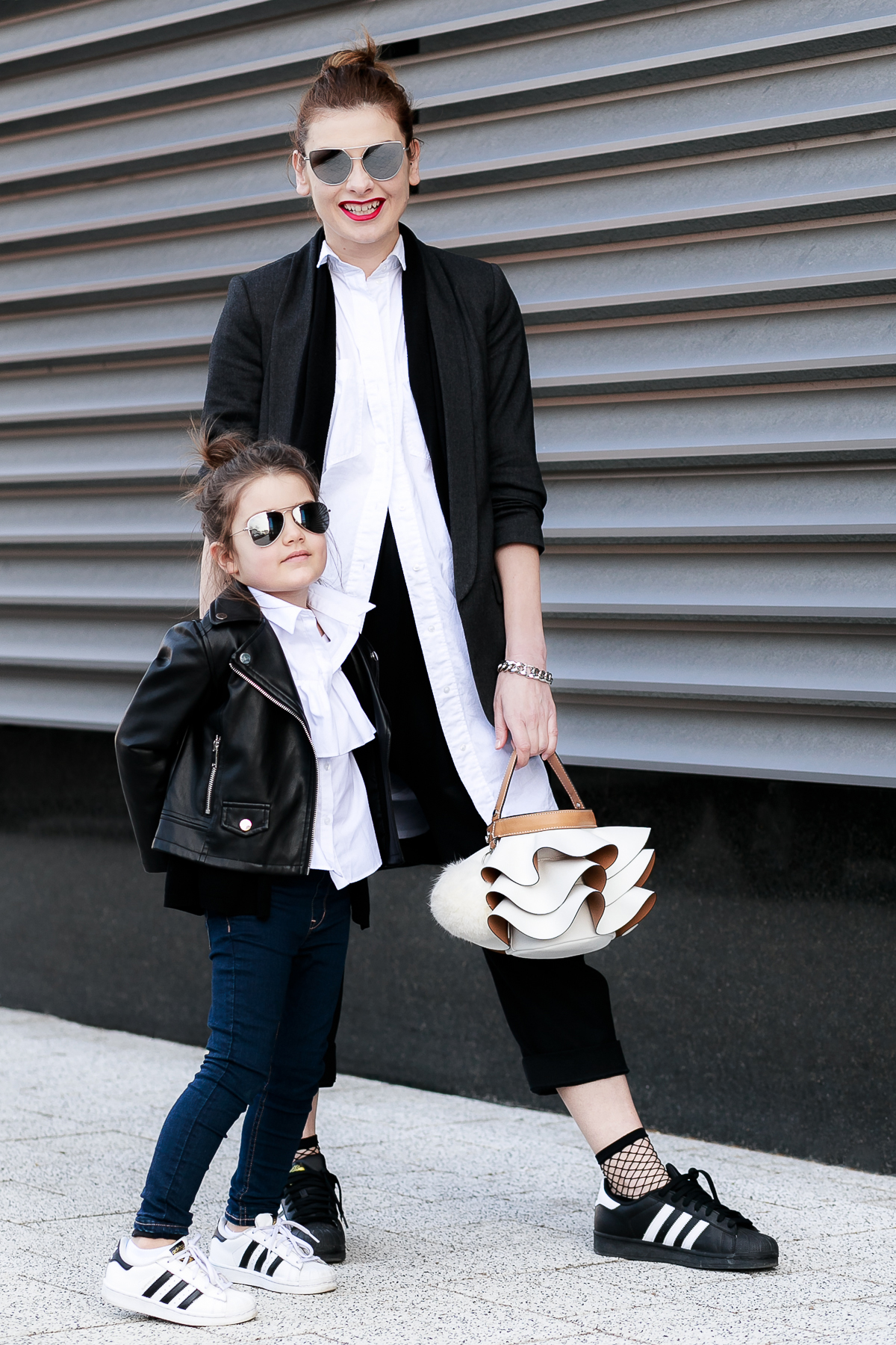 How To Wear Fishnet Socks | Mother - Daughter Mommy and Me Outfit Mini Me Street Style in Monochrome | EdgyCuts